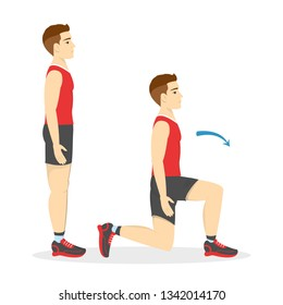 Man making lunges. Doing sport exercises in gym. Leg workout. Muscle building. Healthy and active lifestyle. Isolated vector illustration