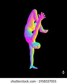 Man making one arm handstand. Gymnast. 3D vector illustration for fitness studio, dance class, yoga or aerobics training. Voxel art.