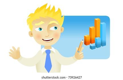 Man making a presentation with a bar graph
