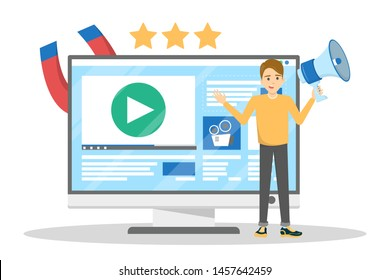 Man making video blog promotion. Content advertising and audience engagement. Marketing strategy. Isolated vector illustration in cartoon style