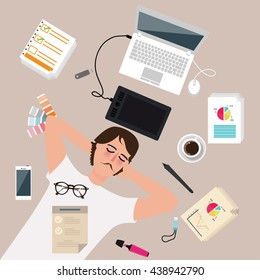 man male designer worker enjoy after work take a rest sleep around laptop