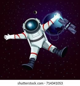 Man or male in spacesuit in front of satellite, earth planet and moon. Cartoon cosmonaut or astronaut, spaceman flying in outer or open space. Universe and cosmos discovery theme