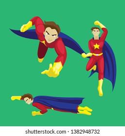 Man Manga Style Superhero Set Flying Pose Cartoon Vector Illustration