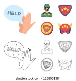 Man, mask, cloak, and other web icon in cartoon,outline style.Costume, superman, superforce, icons in set collection.