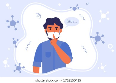 Man in mask keeping silence. Coronavirus, isolation, lockdown flat vector illustration. Secret, pandemic, epidemic concept for banner, website design or landing web page