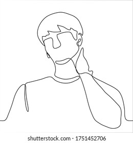 man is massaging his neck. One continuous line art man kneads his neck from a long job at a computer, a symptom of cervical osteochondrosis, charging for the head, self-massage, professional injury
