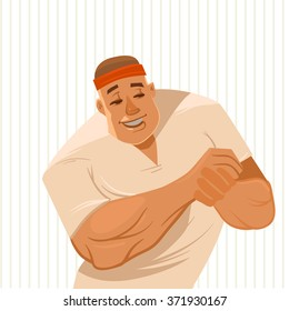 man masseur, bodywork therapist, cartoon character, vector illustration