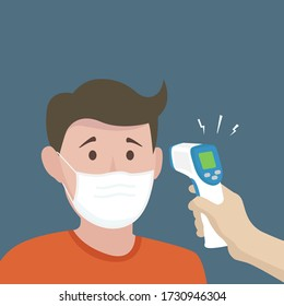 man measuring body temperature and wearing a face mask. temperature check vector