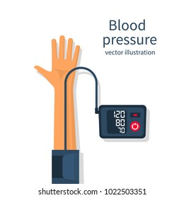 Man measuring patient blood pressure. Checking arterial blood pressure digital device tonometer. Healthcare concept. Vector illustration flat design. Medical equipment. Monitoring health.