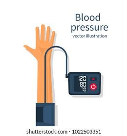 Man measuring patient blood pressure. Checking arterial blood pressure digital device tonometer. Healthcare concept. Vector illustration flat design. Medical equipment. Monitoring health.