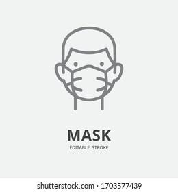 Man in medical mask , protection hygiene, virus prevention, EPS 10, editable stroke