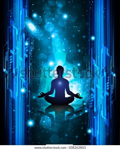 Man Meditate Dark Blue Abstract Digital Stock Vector