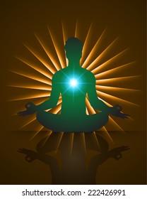 man meditate on dark brown background, yoga