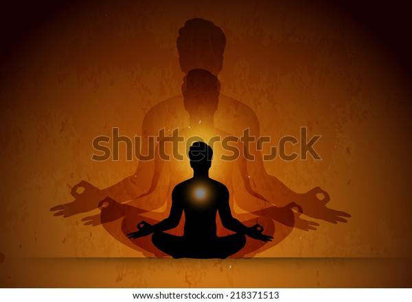 Man Meditate Orange Old Wallpaper Background Stock Vector Royalty Free 218371513