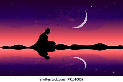 Man meditate, yoga. Buddhist Hindu meditation. Moon night.