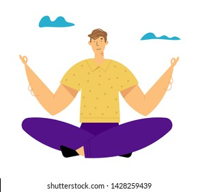 Man Meditating Outdoors Doing Yoga Asana in Lotus Pose. Healthy Lifestyle, Relaxation Emotional Balance, Summer Vacation, Leisure, Life Harmony, Spare Time on Nature. Cartoon Flat Vector Illustration