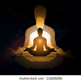 man meditation Dark sparkling background with stars in the sky and blurry lights, illustration.  Abstract, Universe, Galaxies, yoga.
