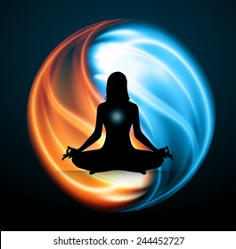 Man meditation on Symbol of yin and yang of background in the form of red and blue fire.
