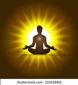 man and meditation yellow light background. yoga.