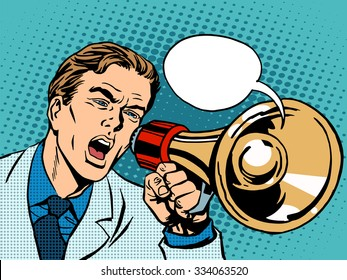 man megaphone policy promotion pop art retro style. Political protest demonstration rally. Advertising campaign poster appeal