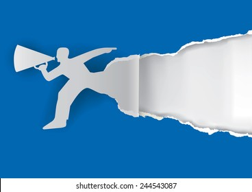 Man with megaphone ripping paper. Man advertises or sells shouts in a megaphone on the blue background with place for your text or image.  Template  for a original advertisement. Vector illustration.