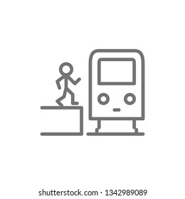 Man in metro, waggon on platform, train, subway station line icon.