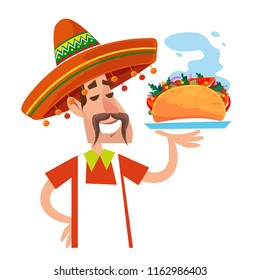 A man in the Mexican sombrero. A cook is holding a tray with food. Hot taco sandwich. In the cartoon flat style. Vector illustration. White background.