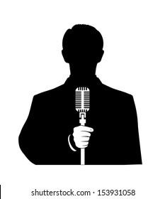 man with a microphone in his hand on a white background