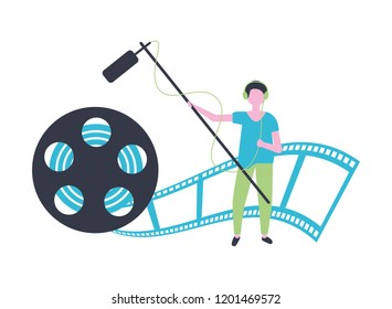 man with microphone reel strip production movie film