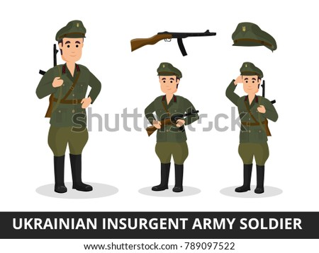 man military uniform ukrainian insurgent army stock vector royalty