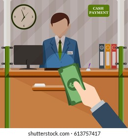 Man with the money standing at the cash payment window. Vector illustration.