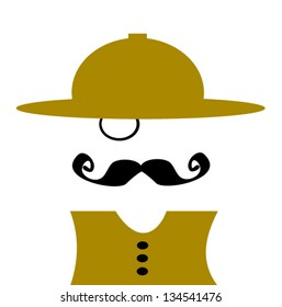 man with monocle wearing safari hat