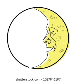 Man in the Moon Continuous Line Vector