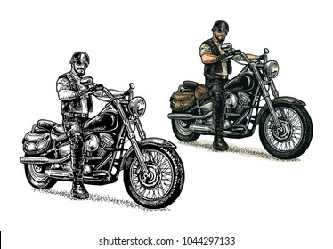 Man in the motorcycle helmet and glasses riding a classic chopper bike. Side view. Vector color engraving vintage isolated on white background. For poster and t-shirt biker club
