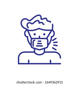 man with mouth mask icon over white background, line detail style, vector illustration