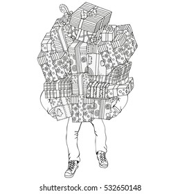 Man moving, with huge pile of gift boxes, balanced in hands, vector illustration. Pattern for coloring book. Christmas hand-drawn decorative elements in vector. Black and white. New year gift