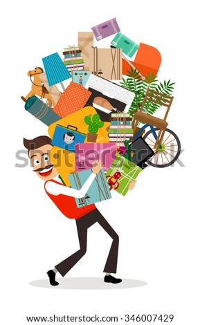Man Moving Illustration Happy Man Walking Stock Vector