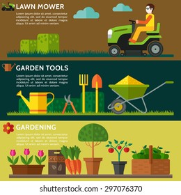 Man mowing  lawn on a riding lawn mower. Gardening tools, watering can, seeds, pot plants with flowers and leaves. Vector illustration