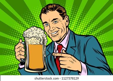 Man with a mug of beer foam. Comic cartoon pop art retro vector illustration drawing