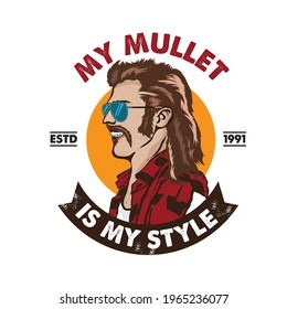 A man with mullet hair style and red neck shirt, good for club logo andtshirt design