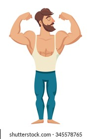 The man with the muscles. Sexy bearded, muscular jock in jeans. Posing bodybuilding. Isolated vector illustration on white background