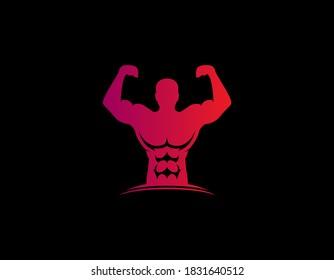 A man of muscles sport symbol logo design illustration.
