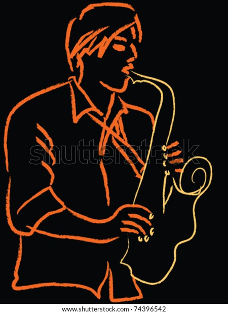 Man, musician playing on saxophone. Sketch line drawing in orange and golden on black.