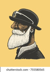 Man With A Mustache And Beard In A Bowler Hat. engraving style. vector illustration