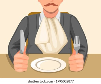 man with napkin tucked in collar sitting in table holding knife and fork ready to eat in cartoon illustration vector