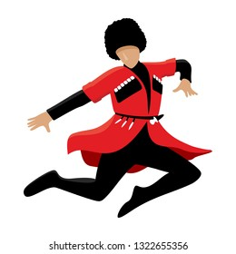 Man in a national Caucasian costume. Jumping lezginka dancer. Vector illustration isolated on white.