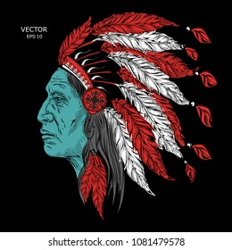 Man in the Native American Indian chief. Black roach. feather headdress of eagle. Hand draw vector illustration