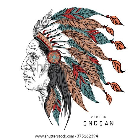 Man Native American Indian Chief Black Stock Vector Royalty Free