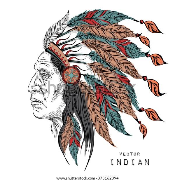 Vetor Stock De Homem No Chefe Indio Nativo Americano Livre De