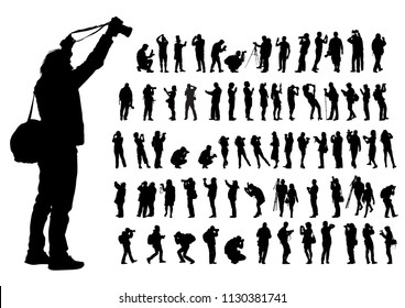 Man nd women with camera on white background